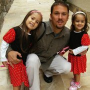 Jason Galeria of the Blue Agave with his two Brazilian-born daughters.