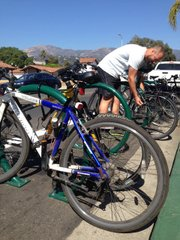 It's easy to park your bike and visit Canon Perdido businesses.