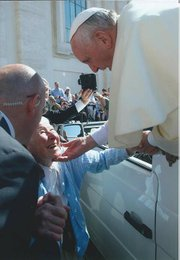 <b>Happy and at Peace:</b> Earlier this year, 86-year-old Sister Jean Marie traveled to Rome to meet Pope Francis.