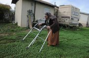 <b>HOME DOWN THE HILL:</b> Sister Jean Marie walks through freshly sprouted clover around the mobile homes that she lives in with Sister Patricia and Sister Mary Anne. This is where they've resided since the monastery project went belly up.