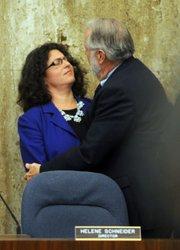 Santa Barbara Mayor Helene Schneider and Solvang Mayor Jim Richardson after the vote