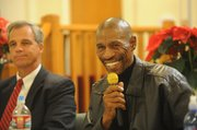 Pastor Charles Reed, right, chaplain for the Santa Barbara Police Department, and Deputy Chief Frank Mannix
