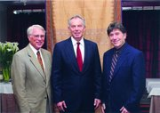 Appelbaum and Mark Jeurgensmeyer (left) with Tony Blair (center) at UCSB in 2008.
