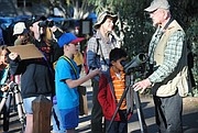 Birding scopes were freely shared at the event.