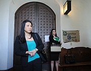 Prosecutor Von Nguyen (foreground) and the victim's attorney, J'Aimee Oxton.