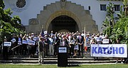 State Assemblyman Katcho Achadjian announces at the Santa Barbara County Courthouse that he will run for Lois Capps' 24th Congressional District seat in 2016 (April 17, 2015).