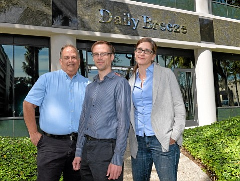 Rob Kuznia (center), a former <em>Santa Barbara News-Press</em> reporter, is flanked by City Editor Frank Suraci and reporter Rebecca Kimitch. The three won the Putlizer Prize for Torrance's <em>Daily Breeze</em> with their coverage of corruption at Centinela Valley Union High School District.
