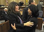 Supervisor Janet Wolf and County CEO Mona Miyasato