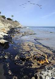 An estimated 21,000 gallon oil spill just North of Refugio State Beach coating 4 miles of the shoreline and a sheen 50-100 yards wide (May 19, 2015)..