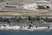 Aerial photo of the Plains All American oil spill  origin on land (top center, enlarged top right) and estimated underground path to the point where it spilled down the bluffs to the ocean. (May 22, 2015)
