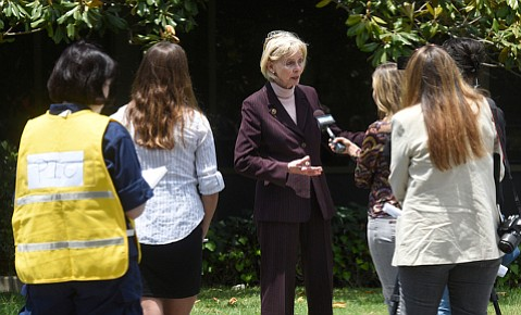 Rep. Lois Capps spoke with reporters outside the Refugio Unified Command about her pipeline safety amendment.