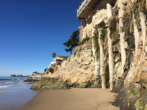 Isla Vista's cliffs have eroded to such an extent that caissons supporting Del Playa construction above are exposed.