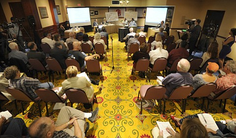 County government and Chumash tribe meetings over property and development issues are taking place under the eyes of the community, here at the meeting in September.