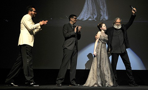 Roger Durling with Mark Osborne, Mackenzie Foy, and Jeff Bridges at the opening night of the 31st annual Santa Barbara International Film Festival. (Feb. 3, 2016)