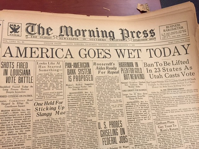 Santa Barbara's <em>Morning Press</em> from December 5, 1933
