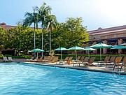 Langham Huntington's pool area