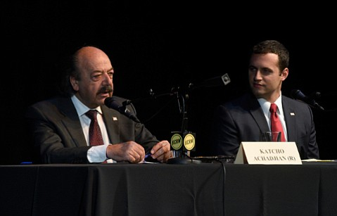 At a debate last Friday, Katcho Achadjian (left) and Justin Fareed, Republican congressional contenders, gave lukewarm responses about supporting Trump.