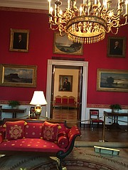 <strong>TOURISTING: </strong> Though President Obama was nowhere in sight, a visit to the White House found Ronald Reagan hanging around on a wall outside the Red Room.