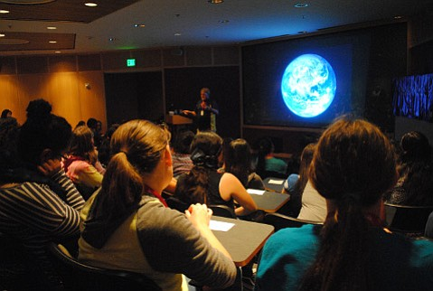 UCSB marine biologist Scott Simon sets the stage for a telepresence visit to the E/V <em>Nautilus</em> for young women at a Tech Trek camp.