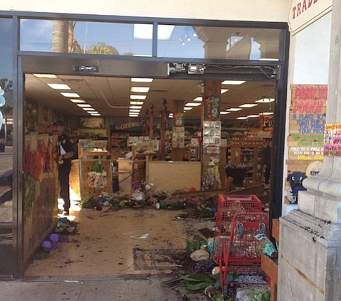 A car driven through the doorway of Trader Joe's in Goleta seriously injured one man.