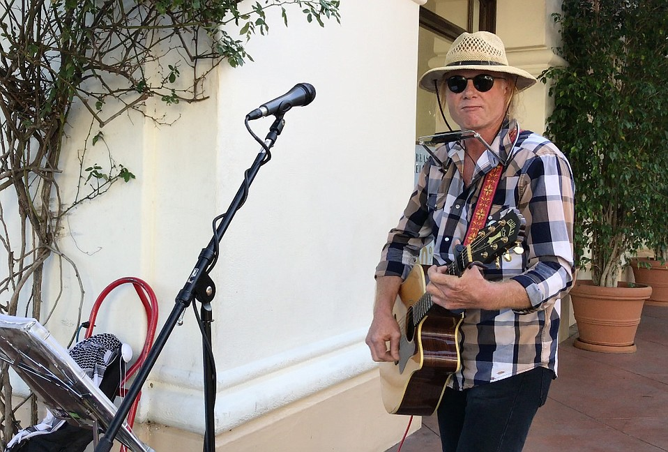 Shawn Thomas crisscrossed the northwest in his truck before busking in Santa Barbara.