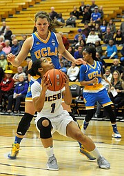 LOOKING UP:  UCLA's Kari Korver looms over Drea Toler (#1), one of UCSB's small, quick guards.