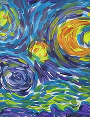 """<b>ART SUPPORT: </b> Attendees can purchase pieces such as """"Starry, Starry Night"""" by artist David Peterson."""