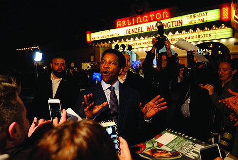 Denzel Washington outside of the Arlington Theater at the 32nd annual Santa Barbara International Film Festival.