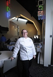 Chef Dusty Cooper in the main dining room of the newly renovated UCSB faculty club.