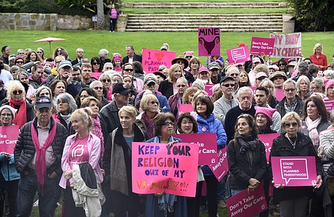 Planned Parenthood rally in the Sunken Gardens.