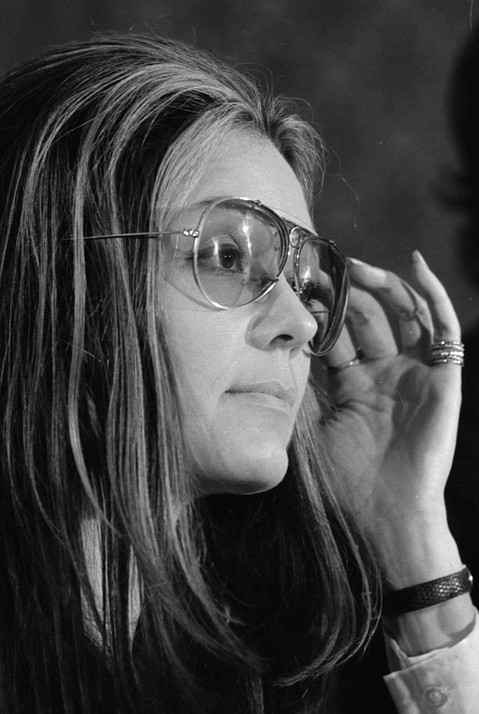 Gloria Steinem at the Women's Action Alliance news conference. January 12th, 1972.