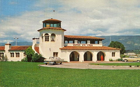 With his partner William Edwards, Joseph Plunkett designed Santa Barbara's original airport terminal, seen here in the 1950s, as well as numerous other graceful structures.