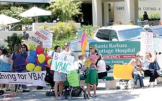 Protesters at Cottage Hospital in Santa Barbara ask for the right to vaginal birth after caserean.