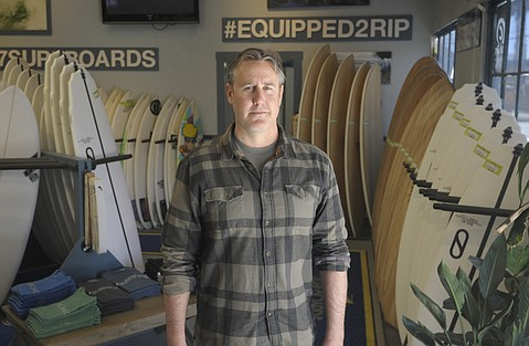 "CAN'T SAY:  ""I see a lot of people come through here and ask, 'What is the Funk Zone? What is special about it?'"" said Jason Feist, owner of J7 Surfboards. ""It's a hard thing to answer now."""