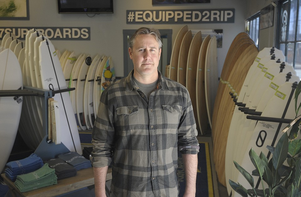 """CAN'T SAY:  """"I see a lot of people come through here and ask, 'What is the Funk Zone? What is special about it?'"""" said Jason Feist, owner of J7 Surfboards. """"It's a hard thing to answer now."""""""