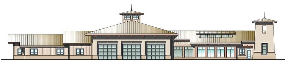 Rendering for Fire Station 10 as of November 2016. Since then, the tower has been moved to the west, and the portions of the station to the east of the three bays are reduced.