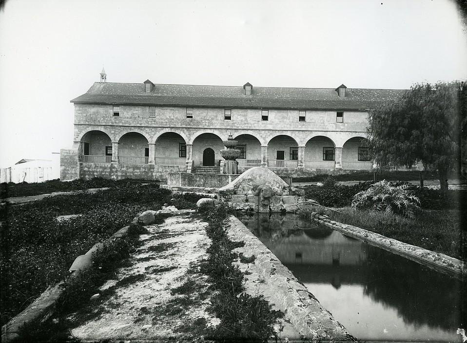Mission Santa Barbara lavadero and fountain, c. 1885.