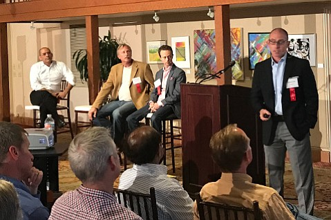 Michael Grillo (right), cofounder of Elite Garden, spoke to a group on the Business of Cannabis, joined by Max Simon, Paul Kowalski of the Cannabis Business Council of Santa Barbara County, and Adrian Sedlin.