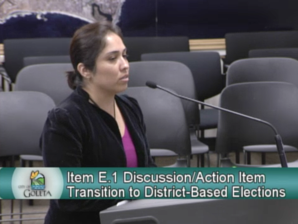 Lindsay Rojas, a plaintiff in the potential district election suit against the City of Goleta, speaks to councilmembers about the civic engagement that would arise from a special commission.