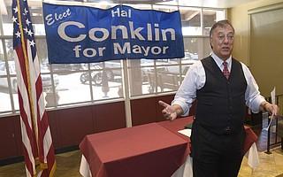 Former Santa Barbara City Mayor Hal Conklin announces his bid to run for the office again