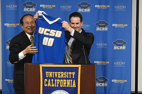 Joe Pasternack shows off his youthful demeanor at his first UCSB press conference.