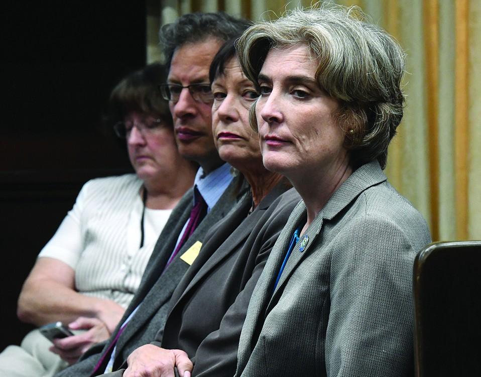 From right: Goleta City Manager Michelle Greene,  Mayor Paula Perotte, and Councilmember Stuart Kasdin