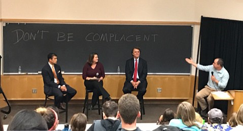 Bren School's Dr. Matt Potoski (right) moderated a UC Santa Barbara panel of 1st District County Supervisor Das Williams (left), NewDEAL Executive Director Debbie Cox Bultan, and economist Lanny Ebenstein, who expressed hope that young minds viewed climate change differently from the Trump administration.