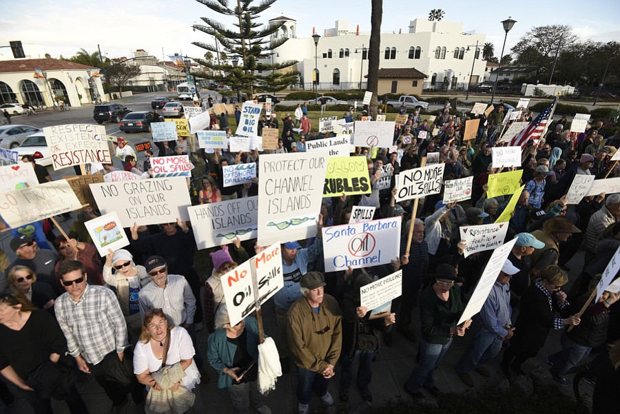 Turning out formidably on a Monday night, protesters made their presence felt in front of the Reagan Ranch Center as Department of the Interior Secretary Ryan Zinke, slipped out the back after speaking to a GOP-heavy audience.