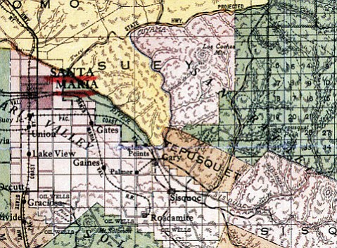 The hamlet of Garey (misspelled on this map) in Santa Barbara County, was set to be a boom town before the bottom dropped out of real estate in the late 1800s.