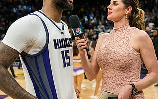 Former UCSB basketball star Kayte Christensen says interviewing NBA players like the intimidating DeMarcus Cousins is her favorite job as a sportscaster.