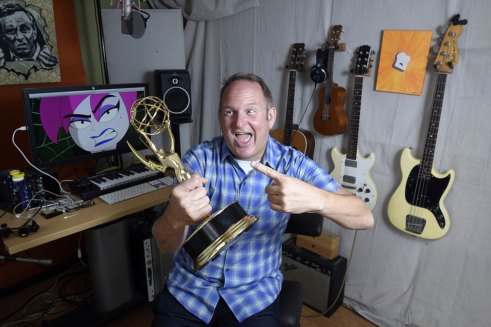 Parry Gripp, in his home studio, holds his 2017 Emmy Award for Outstanding Original Song ÒI'm Not Very NiceÓ (Disney 7D)  (May 22, 2017)..