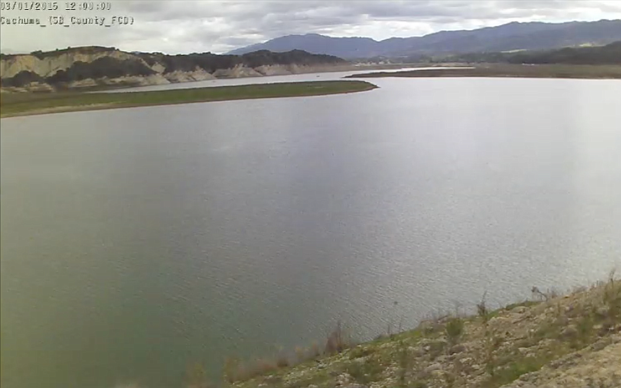 The time-lapse follows Lake Cachuma's fluctuation from 51% to 8% to 50% capacity.