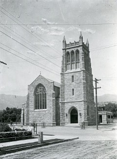 """Trinity Church, pictured here before the 1925 earthquake damaged it heavily but left it standing, dates from Santa Barbara's """"golden age"""" of local stone masonry."""