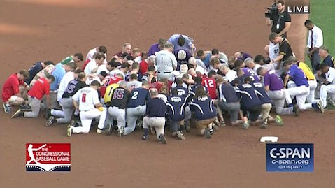 Among those assembled at the Congressional baseball game prayer was Rep. Jeff Duncan of South Carolina, coauthor of the SHARE Act.